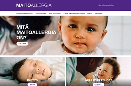 Maitoallergia.fi verkkosivut