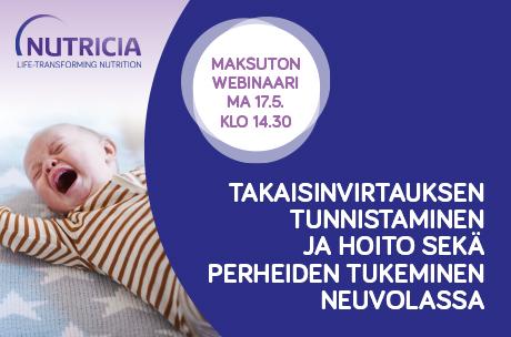 WEBINAARI: Takaisinvirtauksen tunnistaminen ja hoito sekä perheiden tukeminen neuvolassa 17.5. klo 14.30-15.45
